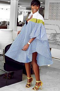 فستان قميص أزرق بأكمام مخططة DMM8041
