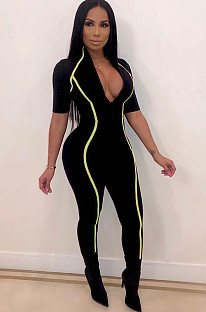 Black Plunging Neck Side Green Stripes Bodycon Jumpsuit ORY5091