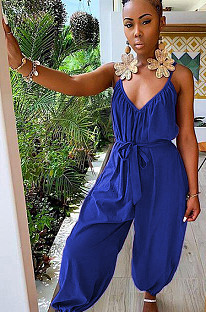 Navy Blue Plunging Neck Open Back Shirred Detail Loose Jumpsuit DMM8044