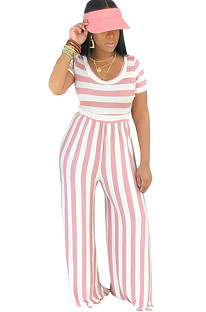 Two Tones Round Neck Pink Stripes Jumpsuit E8395-2