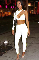 White One Shoulder Front Hollow Out Crop Top & Bodycon Pants Set BN9851