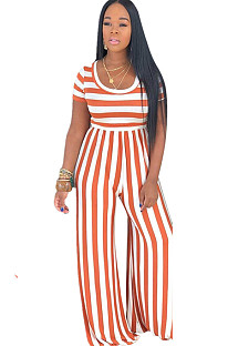 Two Tones Round Neck Orange Stripes Jumpsuit E8395-2