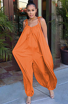 Orange Solid Color Slip Loose Jumpsuit F8264