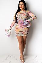 Прозрачное мини-платье с бабочкой и принтом в случайном порядке ED8183