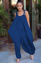 Navy Blue Solid Color Slip Loose Jumpsuit F8264
