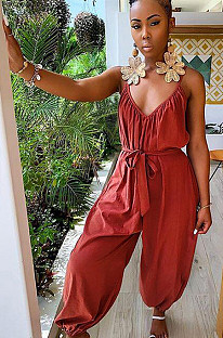 Red Plunging Neck Open Back Shirred Detail Loose Jumpsuit DMM8044