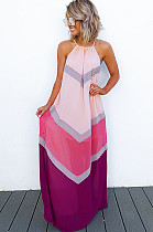 Pink Strapless Back Eyehole Opened Loose Long Dress JLX7001