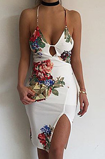 White Floral Print Front Howllow Out Side Slit Cami Dress A8027