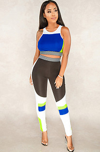Contrast Color Blue Tank Top and Bodycon Sport Sets A8238