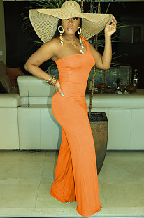 Orange One Shoulder Shift Leg Jumpsuit MTY6280