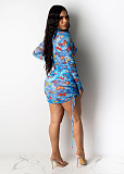 Blue Butterfly Random Print Transparent Side Tie Mini Dress SDD9219