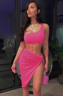 Pink Bandeau Top and Side Slit Swimwear FMM1006