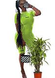 Πράσινο μπροστινό γράμμα Εκτύπωση αθλητικό κοντό σετ YS328