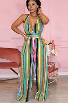 Colorful Stripes Open Back Strape Loose Wide Leg Jumpsuit BBN046