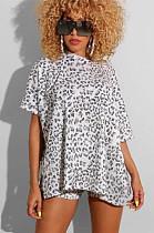 Leopard Print Asymmetrical Shoulder Loose Top & Short Pants Set OMY8025