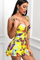 Robe Cami Imprimée Papillon à Noeud Avant Découpé HHM6115