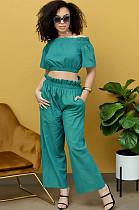 Green Off Shoulder Shirred Detail Crop Top & Pants Set YYZ740