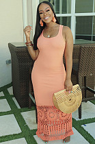 Pink Square Neck Hollow-out Bottom Cami Long Dress HM5288