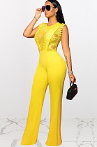 Yellow Embroidered Semi-Sheer Jumpsuit NK096