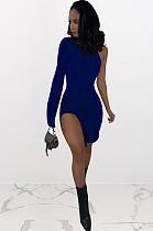 Mini-robe fendue sur le côté bleu marine NK095