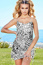 Leopard Graphic Shinning Open Back Wired Cami Dress CYF3384