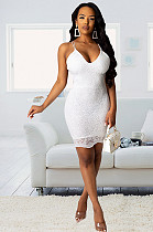 White Embroidered Hem Open Back Cami Dress NK091