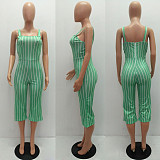 Mint Green Stripes Strap Cropped Bottom Jumpsuit MR2020