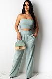 Mint Green Shirred Bandeau Top & Loost Long Pants Set AL083
