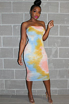 Tie-dye Bodycon Long Tube Dress AA5119