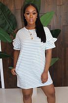 فستان مخطط أبيض بكشكشة بأكمام قصيرة LD8681
