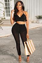 Black Mesh Fabric Tassel Hem Tied Back Pants Set GL6172