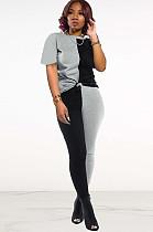 Two Tones Black & Grey Front Tied Pants Set DN8364