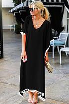 Black Low Neck Embroidered Hem Long Dress JLX8927