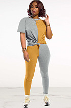 Two Tones Yellow & Grey Front Tied Pants Set DN8364