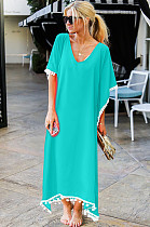 Mint Green Low Neck Embroidered Hem Long Dress JLX8927