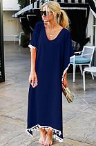 Navy Blue Low Neck Embroidered Hem Long Dress JLX8927
