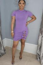 Purple Side Knotted Short Sleeve Mini Dress DN8361