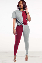 Two Tones Red & Grey Front Tied Pants Set DN8364