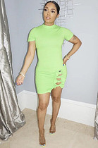 Green Side Knotted Short Sleeve Mini Dress DN8361