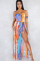 Colorido fora do ombro fenda lateral auto-amarrado vestido longo CCY8374