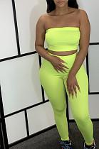 Green Bandeau Crop Top & Bodycon Pants Set TRS1011