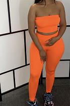 Orange Bandeau Crop Top & Bodycon Pants Set TRS1011