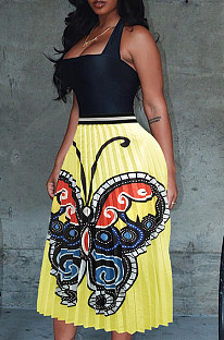 Butterfly Graphic Print Yellow Ruffles Skirt OMY8028