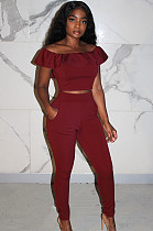 Wine Red Front Lace Shirred Details Crop Top  Mid Riss Pants Set KA7085