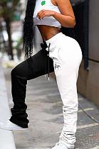 White & Black Shirred Detail Side Word Print Slant Pocket Pants K8899