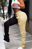 Apricot & Black Shirred Detail Side Word Print Slant Pocket Pants K8899