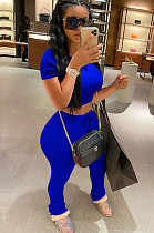 Blue Crop Top & Self-tied Pleated Bottom Pants Set QQM4001