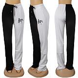 Βερίκοκο & Μαύρο Shirred Λεπτομέρεια Side Word Print Slant Pocket Pants K8899