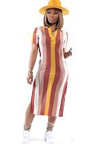 Stripes Half Button Skirt Dress MN8101