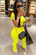Yellow Crop Top & Self-tied Pleated Bottom Pants Set QQM4001